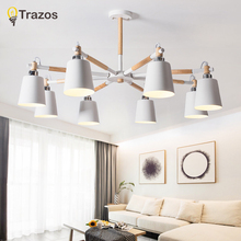 Trazos Nordic Chandelier E27 With Iron Lampshade For Living Room Suspension Lighting Fixtures Lamparas Colgantes Wooden Shine