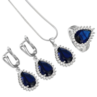 Silver Jewelry Sets Royal Blue Finger Engagement Ring Necklace Dangle Earring Gift 7 8 9 Women