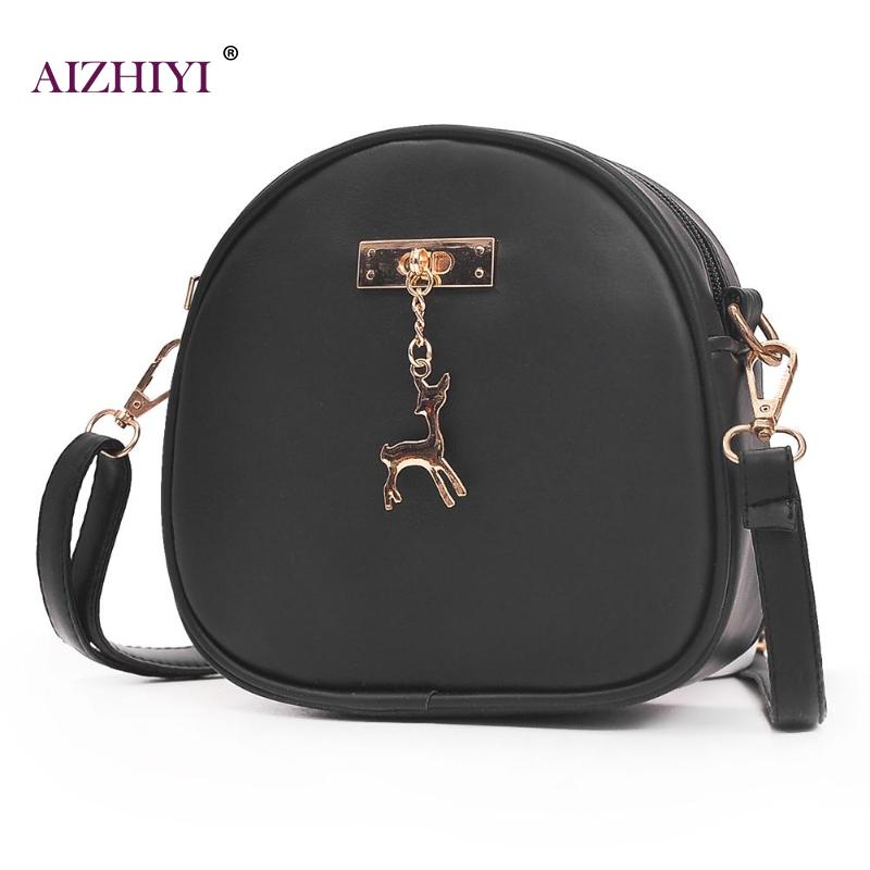 Women PU Leather Shoulder Bag with Deer Pendant Girl Mini Round Messenger Bag Small Handbag with Deer Toy Crossbody Bag for Lady cute cartoon women bag ice cream cupcake mini bags pu leather small chain handbag clutch crossbody girl shoulder messenger bag
