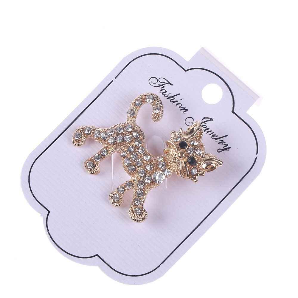 1 PC 猫の形の真珠ラインストーンのブローチ女性ヴィンテージアンティークシルバーブローチピンエレガントな絶妙な Broches 新年ギフト