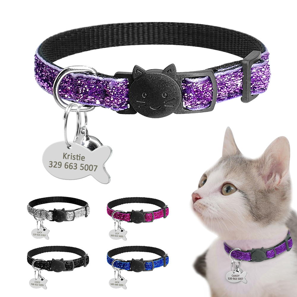 Personalized Quick Release Kitten Cat ID Collar Bling Sequins Puppy Dog Collars Engraved Tag Set With Bell For Small Dogs Cats