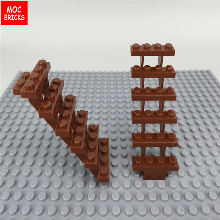 4 LEGO Reddish Brown Stairs Straight Open 30134 Steps Modular Home Building