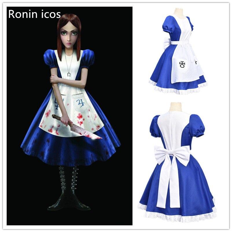 Игра Алиса: безумие возвращается Косплэй костюм платье принцессы костюм горничной платье для хеллоуина Детский костюм для вечеринок