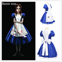 Game Alice Madness Returns Cosplay Costume Princess Dress Maid Dress Made Halloween Party Costume