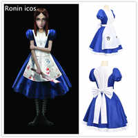 Spiel Alice Madness Returns Cosplay Kostüm Prinzessin Kleid Maid Kleid Made Halloween Party Kostüm