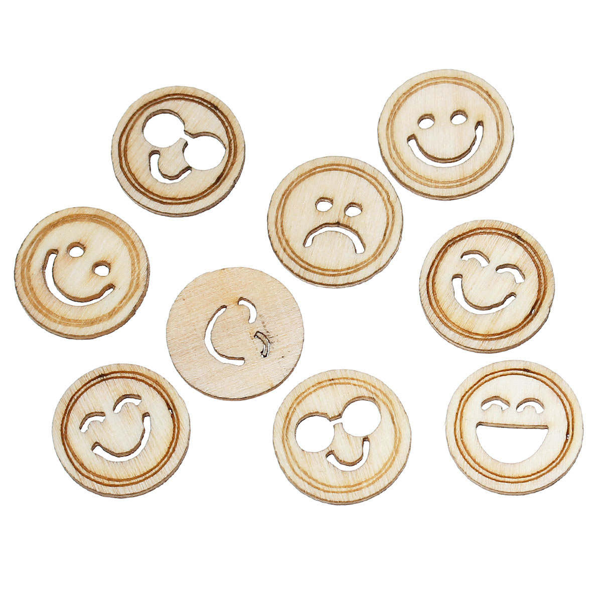 Wood Cabochons Scrapbooking Embellishments Findings Round Natural At Random Pattern 18mm(6/8)Dia,100 PCs new