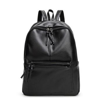 цена на New Travel Backpack Korean Women Female Rucksack Leisure Student School Bag Soft PU Leather Women Backpacks Travel Bag