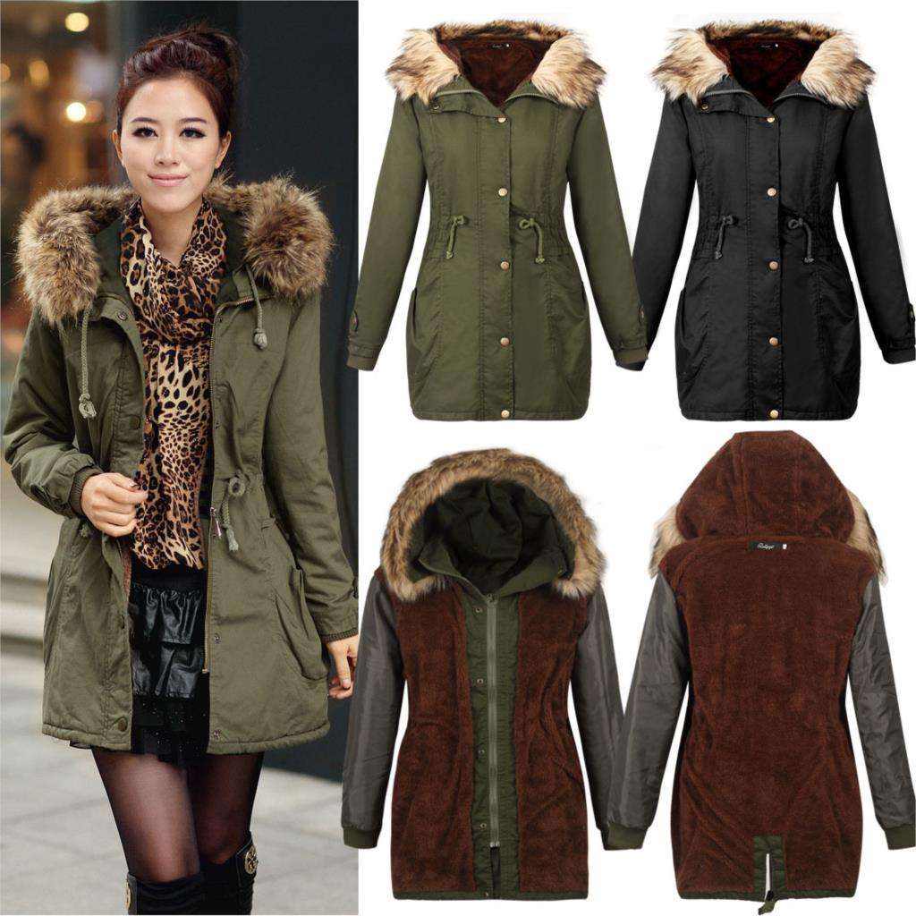 2015 New Causal Warm Winter Jacket Women Fur Inside Hooded Big ...