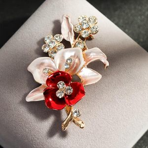 Crystal Flower Brooch Lapel Pin Rhinestone Jewelry Women Wedding Pins Large Brooches For Women broche Clothes Accessories(China)