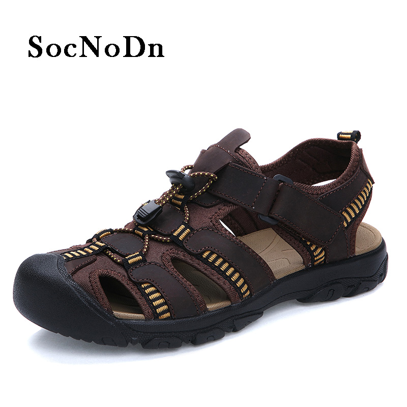 SocNoDn Men Fisherman Sandals Fashion 2018 Summer Shoes Man Leather Sandals Genuine Leather Casual Walking Footwear Big Size