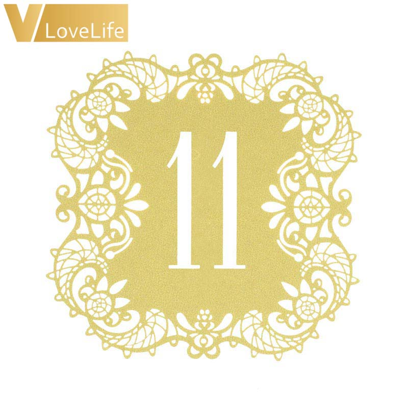 10pcs Beige Gold Hollow Lace Table Number Cards Rustic Wedding Party Dining Centerpieces Decor Vintage