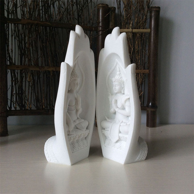 2Pcs Buddha Statue Hands Sculptures Monk Figurine Tathagata India Yoga Fengshui Home Decoration Accessories Dropshipping 5
