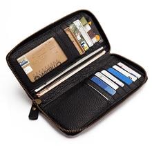 Women's long zipper wallet full leather