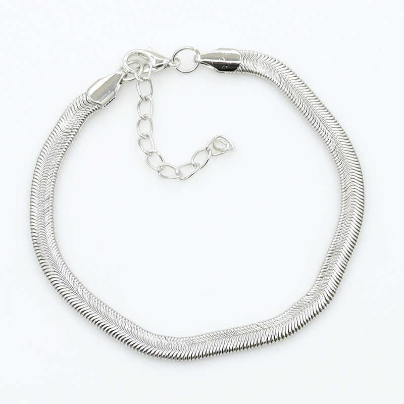 Плоский браслет-цепочка в виде змеи, женский простой тонкий браслет на ногу, женские летние пляжные украшения для ног 2017