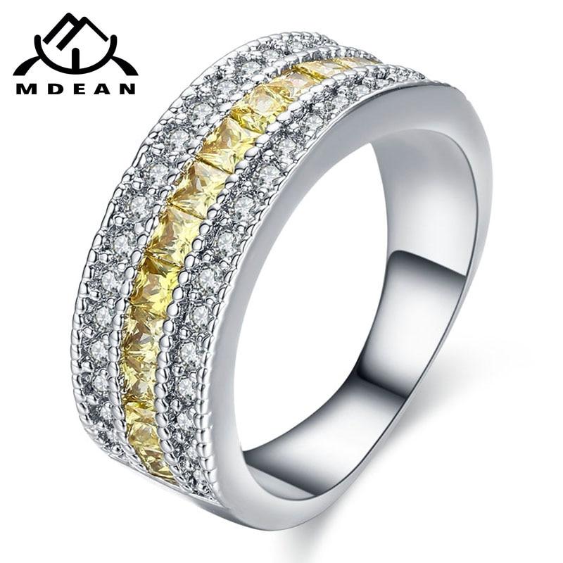 MDEAN თეთრი ოქროს ფერის ბეჭდები ქალთა ყვითელი AAA ცირკონის სამკაულები საქორწილო ჩართულობის მრგვალი ბაგის ზომა 5 6 7 8 9 10 MSR427