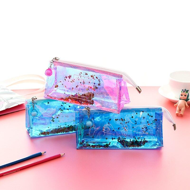 1pcs Cute PVC Pencil Case Colorful Transparent Sequin Quicksand Girl Pencil Bag Creative Korean Stationery School Supplies