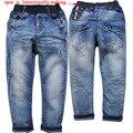 3872 3-4 anos macios não desbotar jeans Crianças meninos calças jeans primavera outono Azul calças de brim do bebê crianças calças