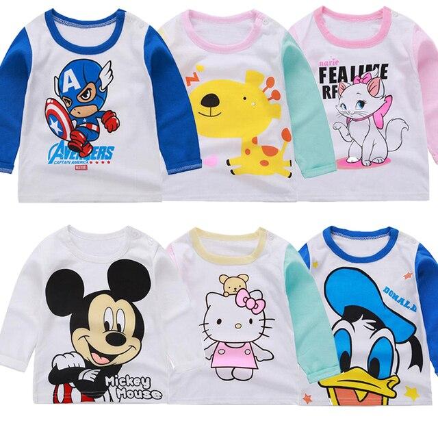 Avengers Captain America Mickey Baby Boy Clothes Birthday Shirt Cotton Tops Hello Kitty Girls Top Kids Boys Tshirt