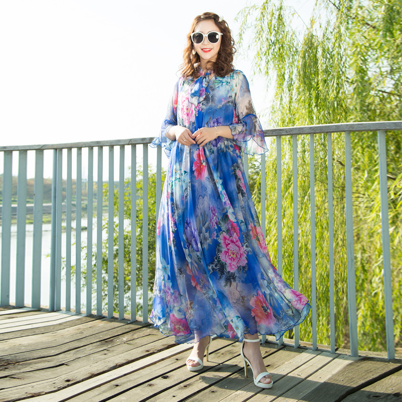 5e185038c7d8 2019 Floral printed Long Chiffon Maxi Dress with Sleeves Plus Sizes  celebrity graduation Dinner
