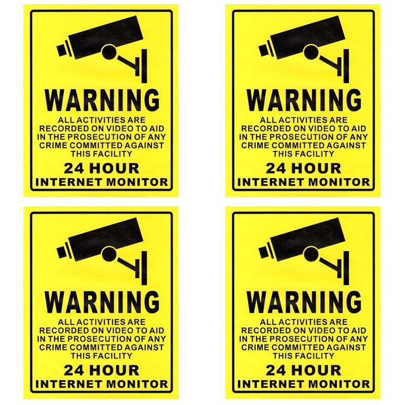 ANRAN 4 Pack Security Surveillance Warning Sign Eye-catching Deterrence 24 hours Monitor Alert Sticker(Yellow) хайям и я русские рубайат