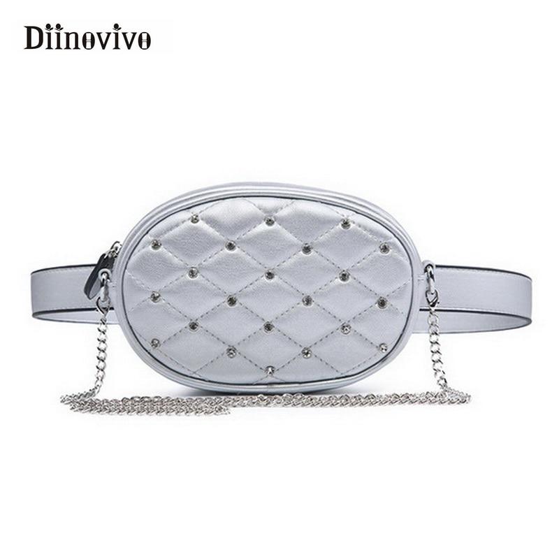 DIINOVIVO Fashion Brand Designer Women Waist Bag Hand Free Bags Lady Pouch Belt Waist Pack Shoulder Purse Black Velvet WHDV0407