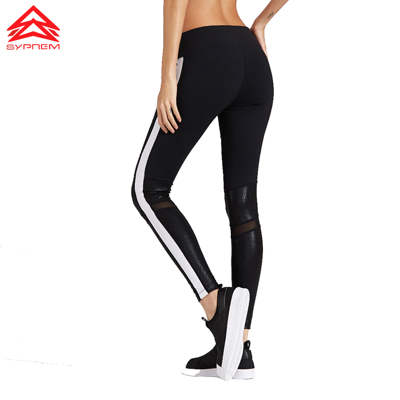 Syprem 2017 Spring Women Sexy Yoga Sports Pants Compression Leggings Hollow Mesh Leggings Gym Skinny Fitness Sportswear,1FP1014