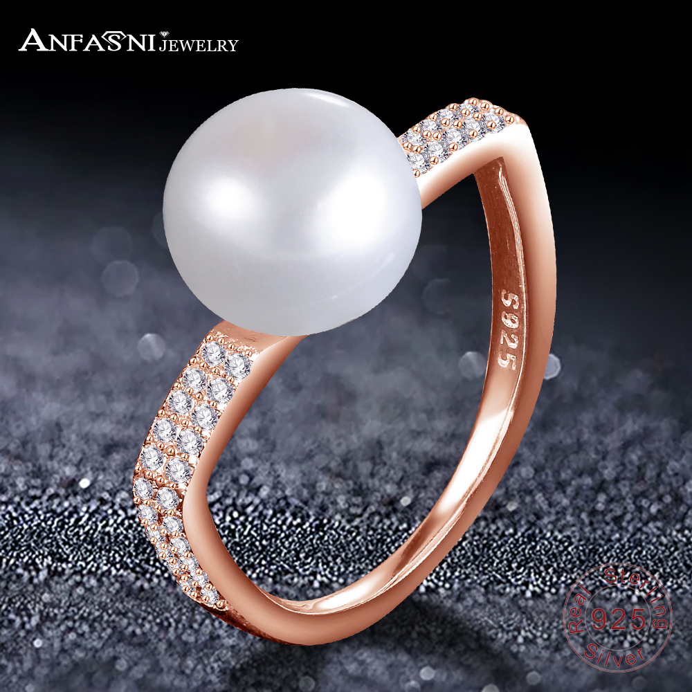 anfasni hot design 925 sterling silver fine jewelry luxury horseshoe pearl jewelry ring wedding band women - Horseshoe Wedding Rings