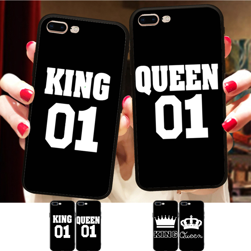 <font><b>BFF</b></font> King and Queen 01 Couple Matching <font><b>Case</b></font> Cover For iPhone 11 Pro Max X 8 5 5S XR XS 6 6S 7 Plus Best Friends Soft <font><b>Phone</b></font> Coque image