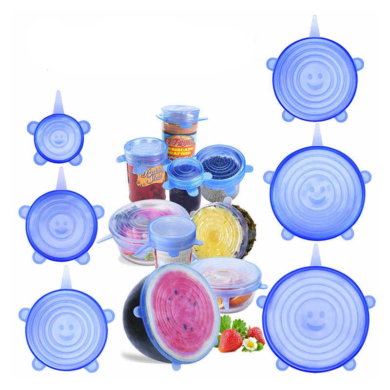 6 pçs/set Caps Covers Tampas Estiramento Silicone Selo de Vácuo de Sucção de Silicone Tampa De Silicone De Armazenamento De Alimentos Frescos de Frutas Cozinha
