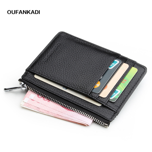 5683406e363 Oufankadi Men Women s Card Holder Genuine Leather Cute Zipper Card Wallet  Small Purse for Men Card Purses