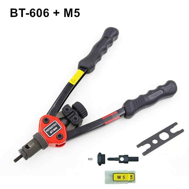 Hot sales high quality hand riveter pull rivet nut riveting tools with one M5 die free shipping BT-606 high quality 440mm 17 inch hand riveter pull rivet nut riveting tools with one die of m3 free shipping bt 604 auto remove nut
