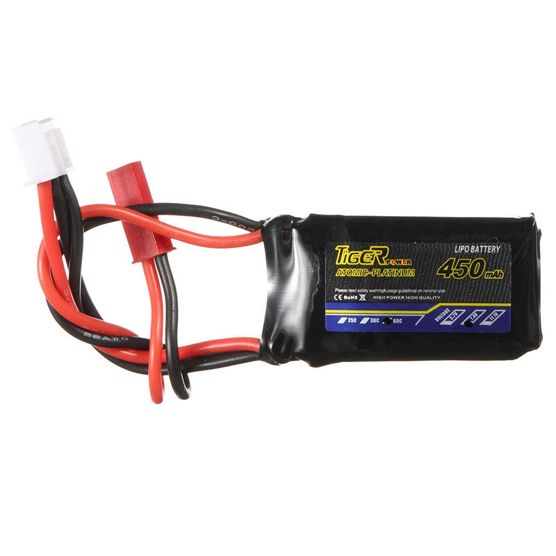 Tiger Power 7.4V 450mAh 60C 2S Lipo Battery JST Plug Connector For FPV Racing Drone RC Quadcopter Power tiger power 11 1v 550mah 60c 3s lipo battery jst plug for rc fpv racing camera drone spare parts accessories