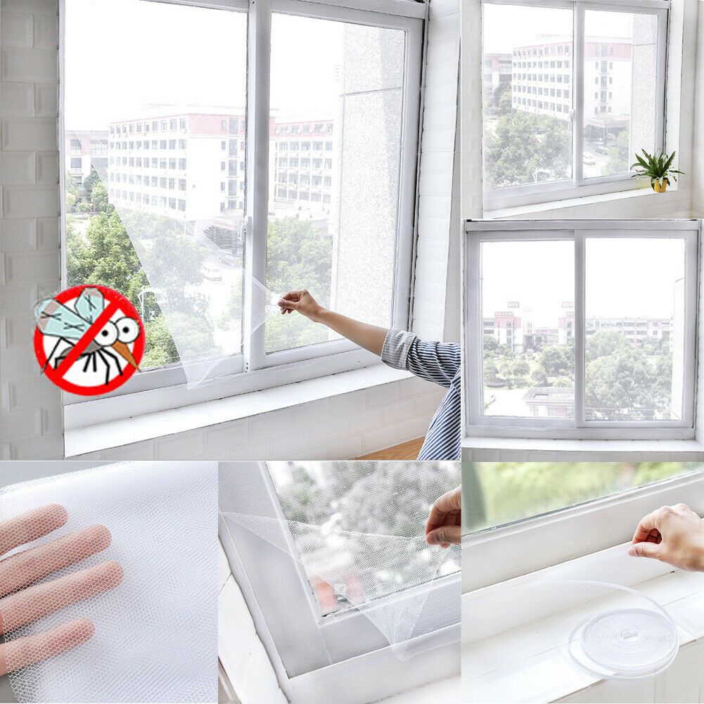 2019 Newest Fashion Window Insect Screen LARGE Mosquito Wasp Fly Bug Door White Mesh Net Self Grip Hot Sale