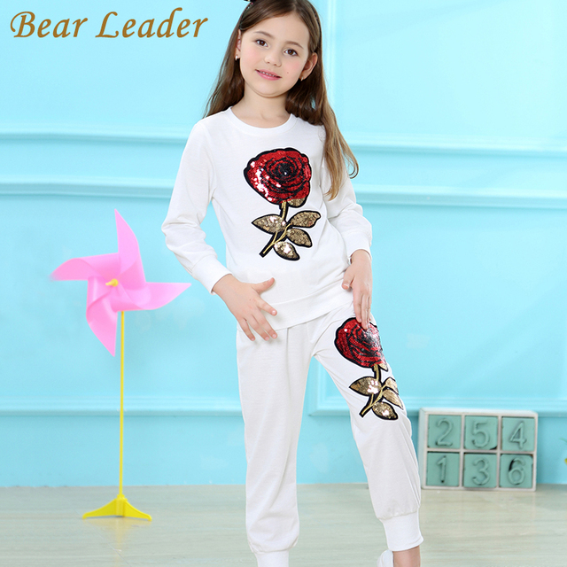 Bear Leader Girls Clothing Sets 2018 New Fashion Kids Clothing Long Sleeve T-shirt+Rose Floral Pants 2Pcs for Children Clothing
