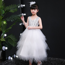Primero Glitz New 2020 Summer Sequins Beaded Layered Evening Prom Girls Dresses Kids Noble Princess Dress Teenager Party Frocks