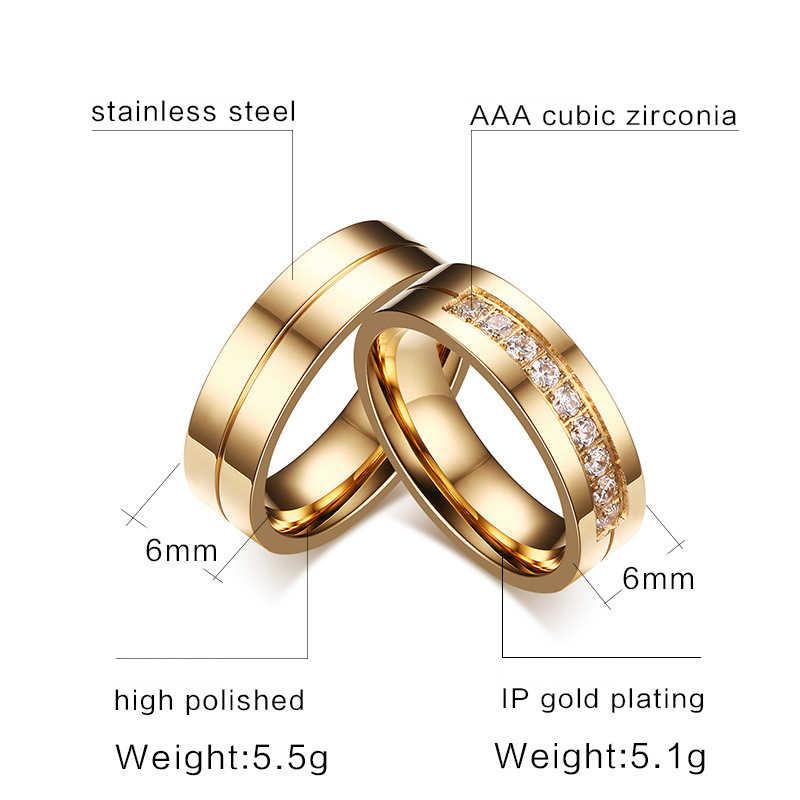זהב צבע טבעות טבעות נישואים לנשים גברים באיכות גבוהה CZ אירוסין הבטחת זוג טבעת יום נישואים ברית תכשיטי מתנה