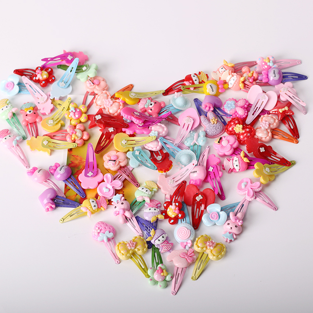 10PCS Mix Color Barrette Baby Hair Clip Cute Flower Solid