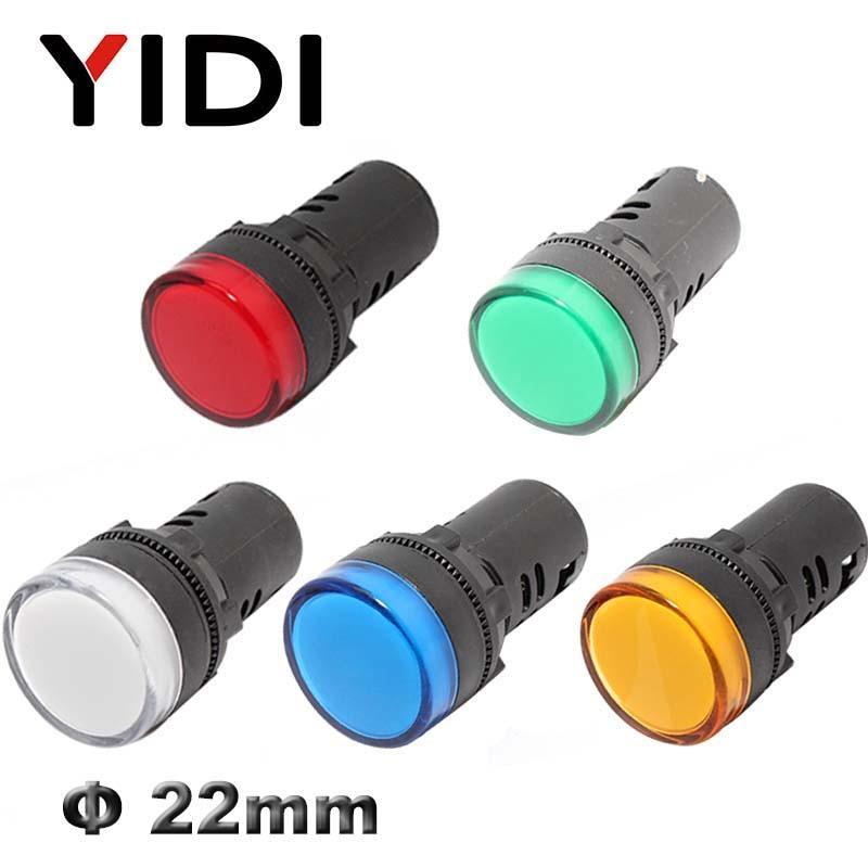 AD16-22 22mm Luz Indicadora De Plástico 12 V 24 V 220 V Lâmpada Piloto LED Vermelho Verde Azul Branco Amarelo LED Sinal de Luz