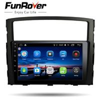 Funrover 9 inch android 8.0 car dvd player for Mitsubishi Pajero V97 V93 2006 2015 GPS car radio video Multimedia player RDS BT