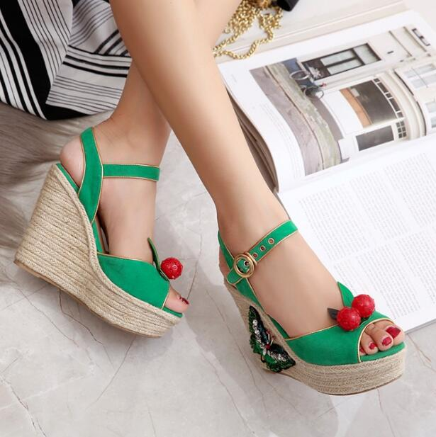 934b7374182 Top selling wedges sandals for women high platform shoes butterfly  decoration with cute cherry green black shoes for party wear -in Women s  Sandals from ...