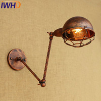 IWHD Loft Style Edison Wall Sconce Bedside Lamp Long Arm Industrial Vintage Wall Light Fixtures Indoor Lighting Lamparas