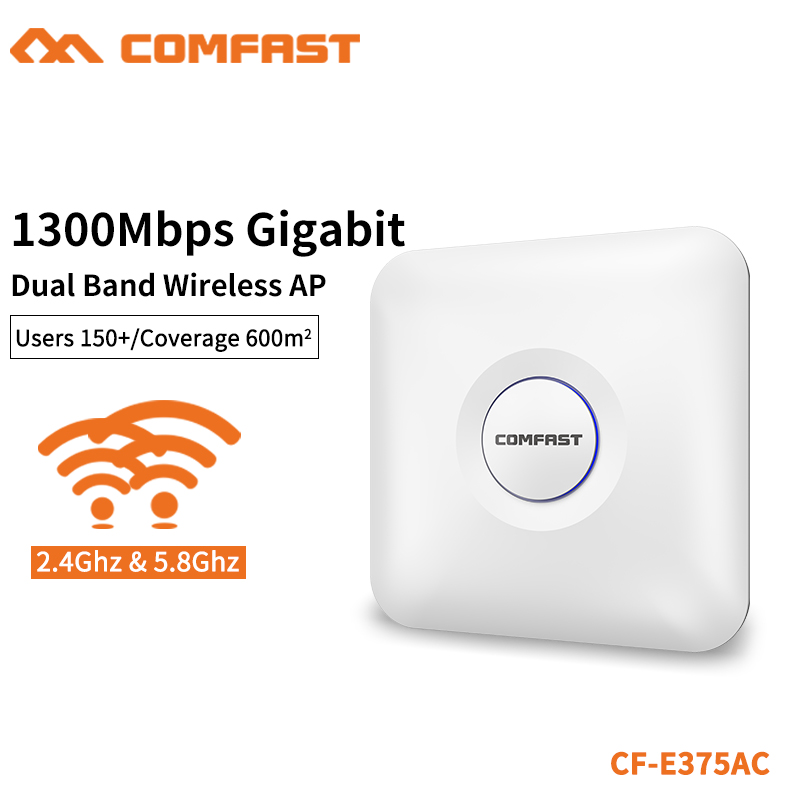COMFAST 1300Mbps Wifi Router 5.8G 867Mbps + 2.4G 450Mbps Gigabit RJ45 Port Ceiling AP For 600 Square Meters 150+ Users CF E375AC-in Wireless Routers from Computer & Office    1