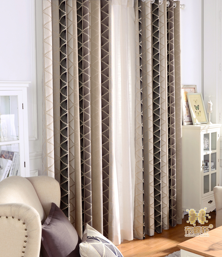 2017 Korean Style Luxury Curtains Geometrical Pattern Jacquard Weave Curtains for Living Room Bed Room Fast Shipping