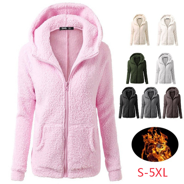 Women Fashion Thicken Fleece Winter Warm Jacket Hooded Zipper Overcoat Outwear Coat