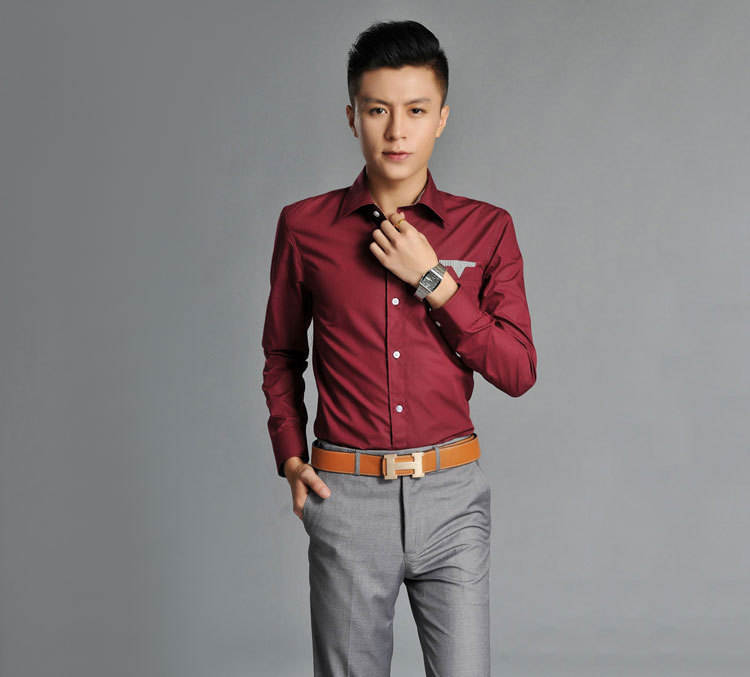 Men Slim burgundy long sleeved shirt tide male British iron ...