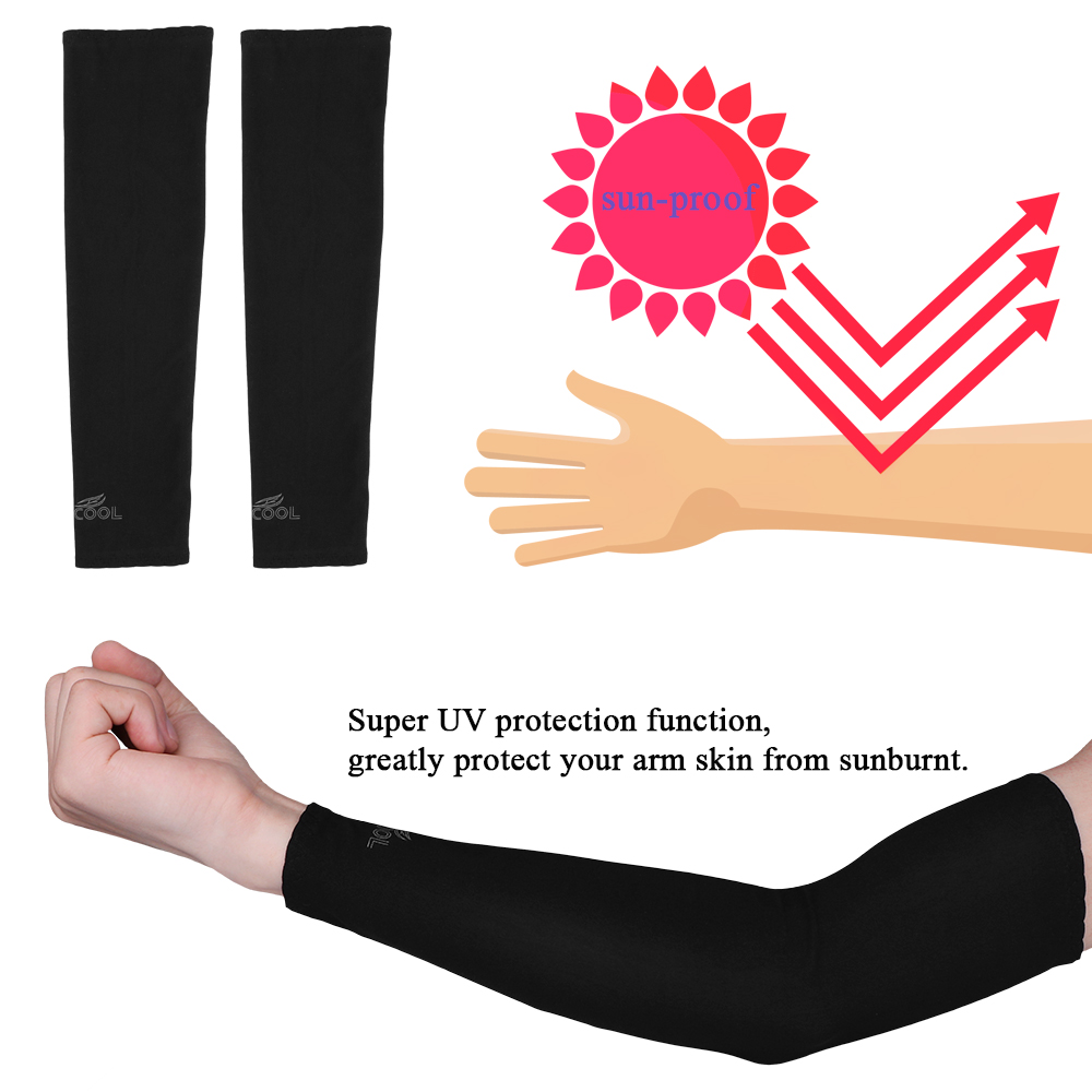 running - 1 Pair UV Protection Arm Sleeves Warmers Safety Sleeve Nylon Sun Sleeves Long Arm Cover Cooling Warmer for Running Golf Cycling