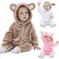 Otoño Invierno Mamelucos Del Bebé del estilo del Oso polar de coral de bebé Hoodies de las muchachas Del Mono recién nacido ropa de bebé