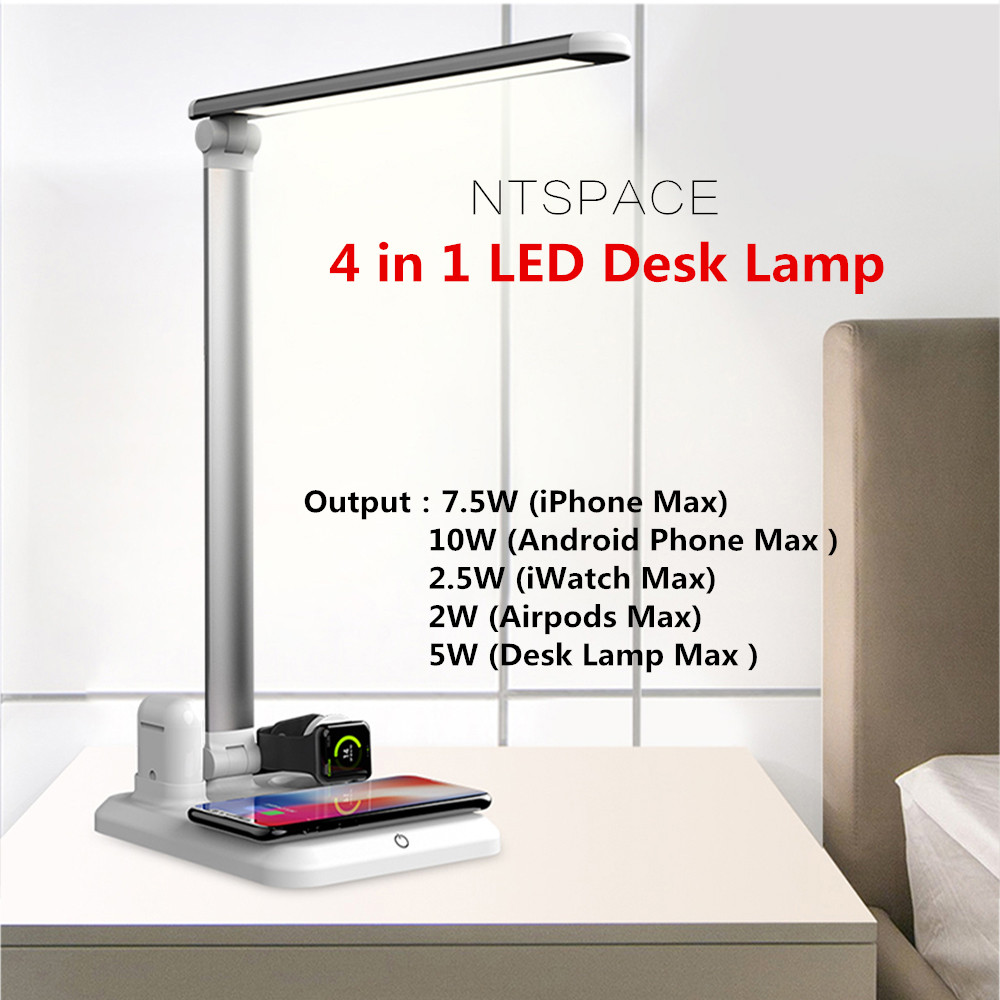 4 In1 Qi Wireless Charging Pad Led Desk Lamp Luminaria Multifunction Led Table Lamp 5W Touch Desktop Light for iPhone Airpods4 In1 Qi Wireless Charging Pad Led Desk Lamp Luminaria Multifunction Led Table Lamp 5W Touch Desktop Light for iPhone Airpods