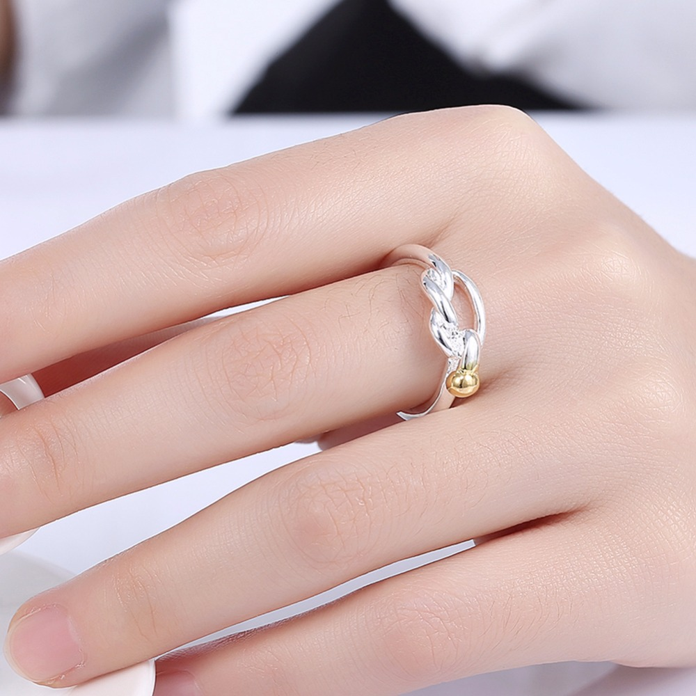 Golden lock charming big rings nice finger wear 925 Silver Fashion ...