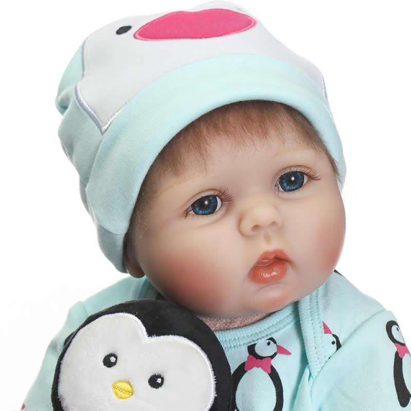Lovely Reborn Dolls Realistic Soft Silicone Baby Dolls 22 inch Fashion Blue Eyes Ethnic Baby Stuff